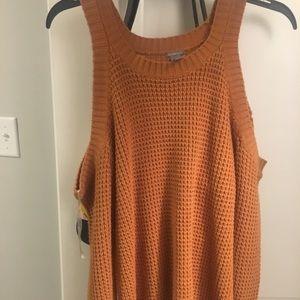 Burnt orange sweater with open shoulders